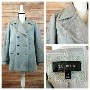 NWOT Talbots 6 Gray Wool Double Breasted Pea Coat